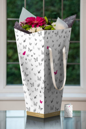 White with butterflies peppered with pink magenta butterflies - L/W/H 25/25/53cm