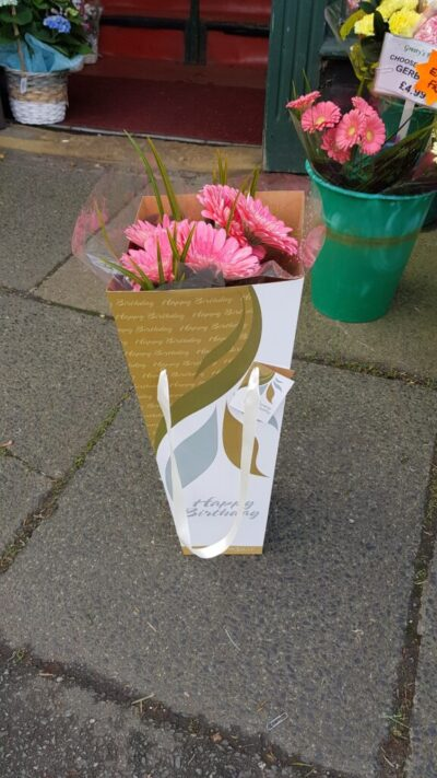 A simple bunch of flowers, now a gorgeous birthday gift